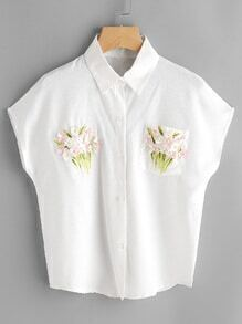 3D Flower Embellished Shirt