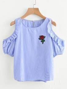 Pinstripe Open Shoulder Frill Trim Embroidered Applique Top