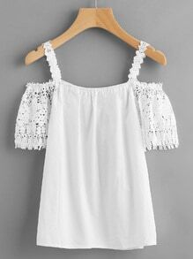 Crochet Lace Insert Cold Shoulder Top