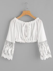 Embroidered Mesh Cuff Shirred Crop Top