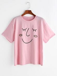 Smile Face Print Drop Shoulder Tee