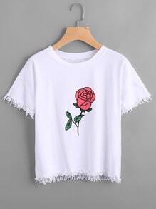 Rose Print Fringe Hem Tee