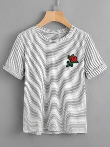Rose Embroidered Patch Pinstriped Tee