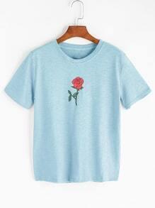 Rose Print Slub Tee