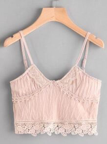 Crochet Trim Zipper Back Pleated Crop Cami Top