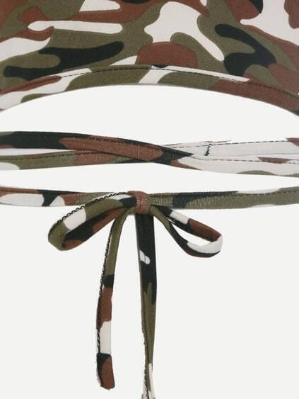 Camo Print Crisscross Tie Detail Crop Halter Top