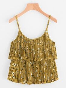 Ditsy Print Pleated Double Layer Cami Top