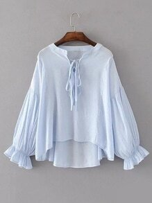 Tie Neck Lantern Sleeve High Low Blouse