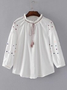 Drop Shoulder Seam Tassel Tie Embroidery Blouse