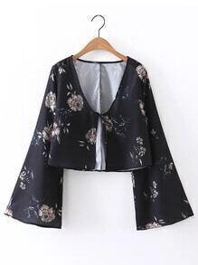Plunging V-Neckline Bell Sleeve Floral Top