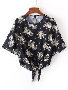 Bell Sleeve Knot Front Floral Top