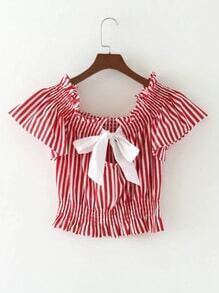 Vertical Striped Bow Tie Back Crop Top