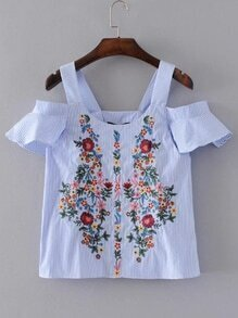 Vertical Striped Embroidery Tunic Blouse