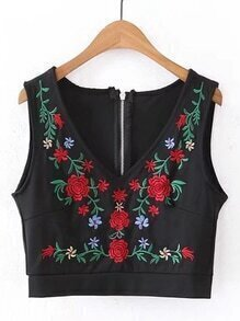Flower Embroidered Zipper Back Tank Top