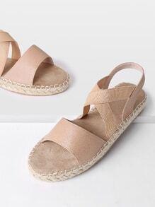 Criss Cross Strap Woven Sandals