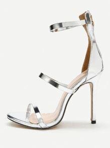 Zipper Detail Metallic PU Stiletto Sandals