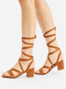 Open Toe Criss Cross Heeled Sandals