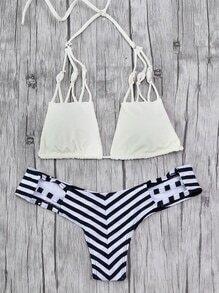 Striped Print Shell Embellished Bikini Set