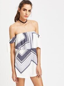 Geometric Print Strapless Self Tie Layered Romper