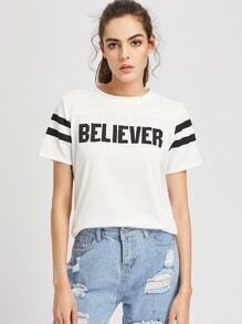 Believer Print Striped Tee