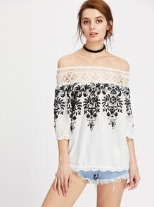 Bardot Hollow Out Crochet Trim Embroidered Chevron Hem Top