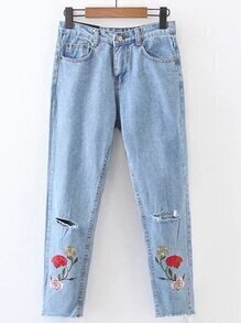 Ripped Detail Rose Embroidery Jeans