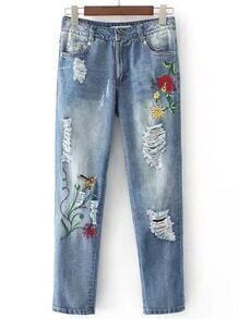 High Waist Ripped Detail Jeans