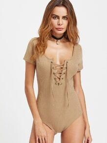 Lace Up Front Ribbed Bodysuit