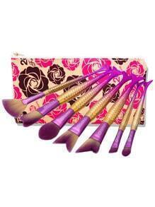Mermaid Shaped Makeup Brush Set 7pcs With Bag