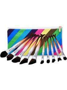 Mermaid Shaped Cosmetic Brush Set 10pcs With Bag