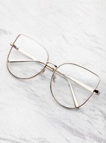 Flat Lens Cat Eye Glasses