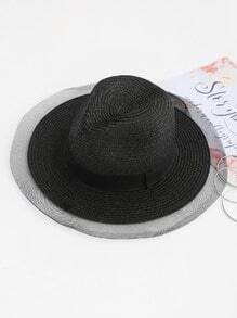 Mesh Trim Straw Beach Hat