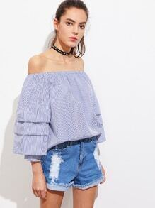 Bardot Tiered Sleeve Pinstripe Top