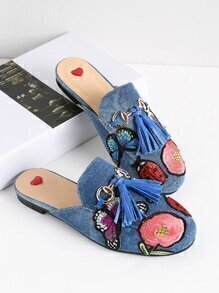 Embroidery Detail Tassel Embellished Loafer Mules