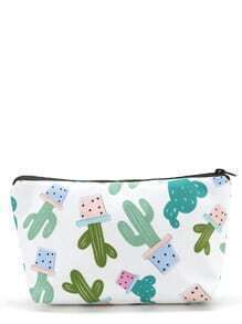 Cactus Print Zipper Makeup Bag