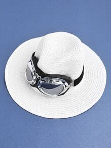 Pilot Glasses Embellished Straw Fedora Hat