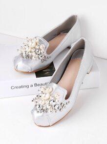 Faux Pearl Embellished Ballet Flats