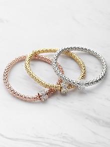 Rhinestone Embellished Metal Bracelet Set