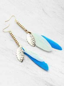 Leaf And Feather Decorated Drop Earrings