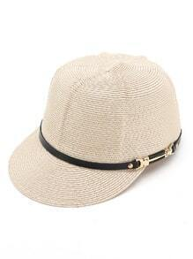 Straw Cap With Faux Leather Band