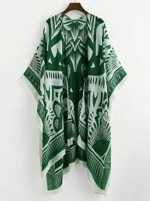 Damask Print Slit Side Kimono