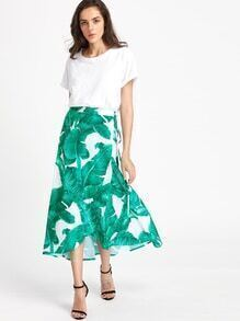 Palm Leaf Print Wrap Skirt