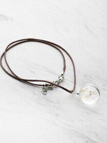 Glas Löwenzahn Anhänger Halskette