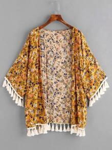 Ditsy Print Random Tassel Hem Kimono
