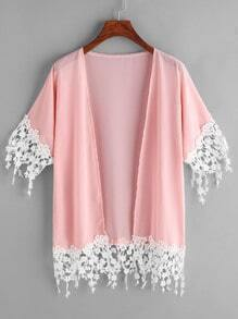 Lace Hem Chiffon Kimono