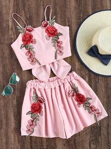 Rose Embroidered Patch Bow Back Crop Cami Top With Shorts