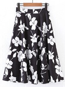 Floral Print A Line Skirt