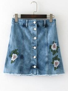 Raw Hem Flower Embroidery A Line Denim Skirt
