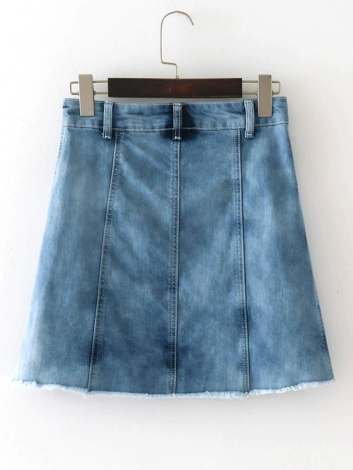 jupe en jeans a line brod fleur avec pan d chir french romwe. Black Bedroom Furniture Sets. Home Design Ideas