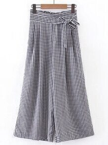Bow Tie Waist Grid Wide Leg Pants